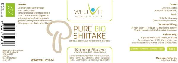 Pure Bio Shiitake 100 g Lentinula edodes Vitalpilzpulver aus EU-Bio-Landwirtschaft, vegan