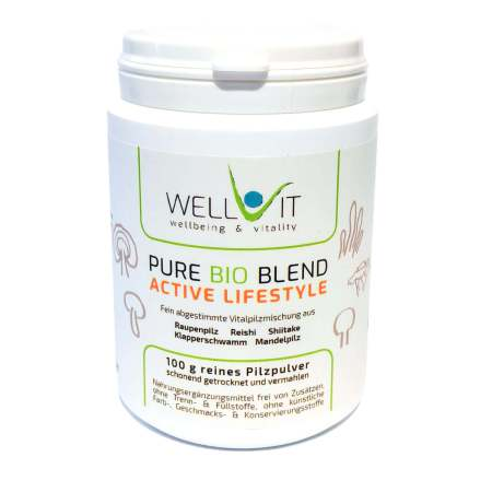 Pure Bio Blend Active Lifestyle 100g Vitalpilzmischung aus Raupenpilz Reishi Shiitake Klapperschwamm Mandelpilz
