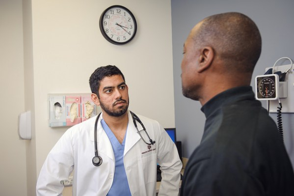 Doctor and patient having a serious conversation