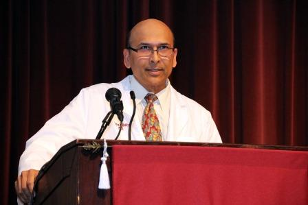 Indra K. Reddy, Ph.D., professor and founding dean of the Texas A&M Health Science Center Irma Lerma Rangel College of Pharmacy, addresses more than 80 second-year professional student pharmacists as they receive their white coats as a symbol of clinical service and care on Sept. 7 at the Edward N. Jones Auditorium on campus of Texas A&M University-Kingsville.