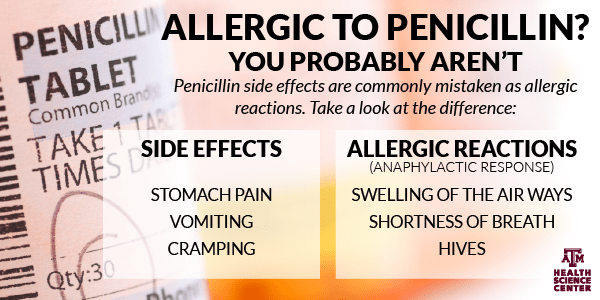 Differences between penicillin side effects and allergic reactions