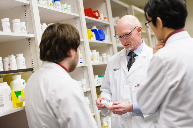 Pharmacists talking in a group
