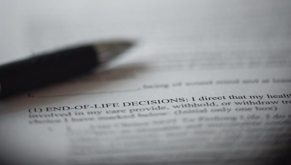"Piece of paper with a closeup on the words ""End-of-Life decisions"""
