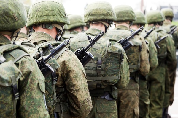 Soldiers march ready for battle.