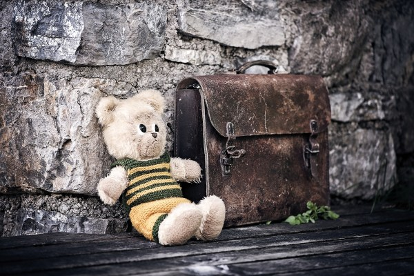 Stuffed animal next to briefcase