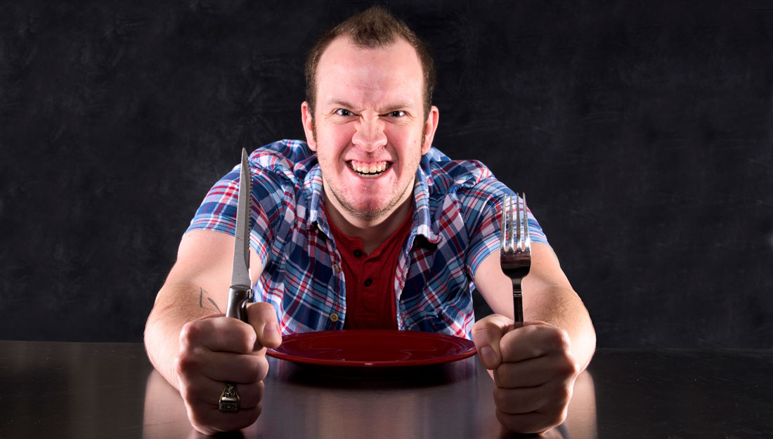Hungry, angry, man