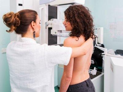 Women receiving a mammogram