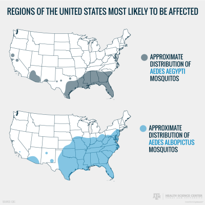 regions of U.S. affected by zika