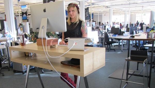 Standing desks in office