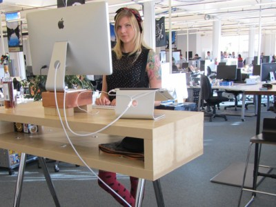 Standing desks in office