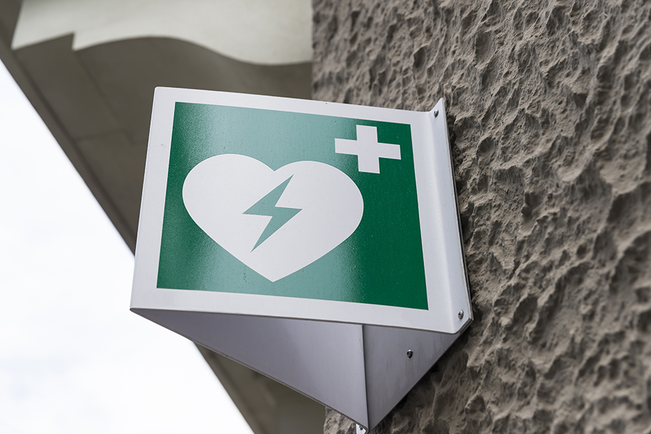 AED Automated External Defibrillator Emergency Sign Mounted on a Wall