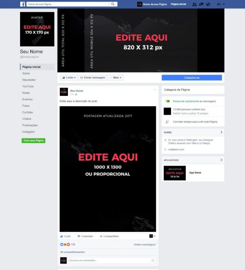 mockup página do facebook