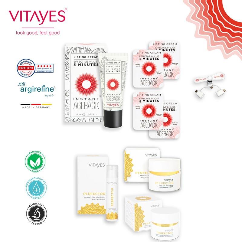 Pacchetto prodotti VITAYES completo: trattamento per il viso completo, idratanti, anti rughe, nutriente, effetto lifting. Idea regalo ricercata