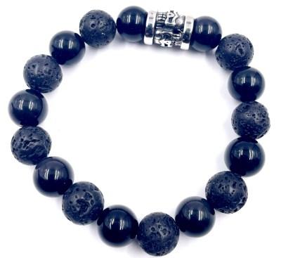 Bracelet perle de lave obsidienne Vito Art Metal