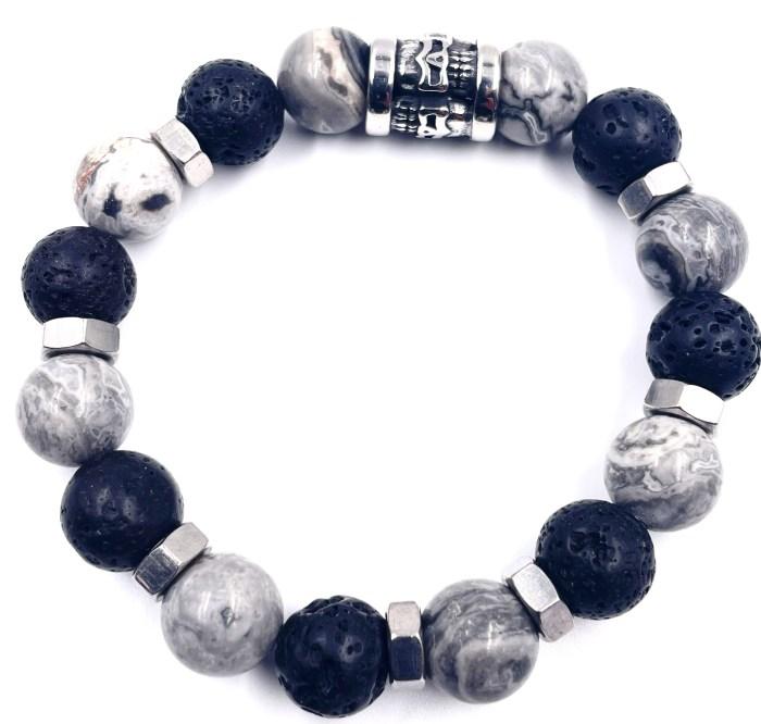 Bracelet pierre de Lave et Jaspe vitoartmétal