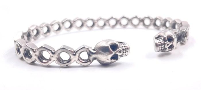 Bracelet jonc Simple écrous Acier inoxydable tête de Mort