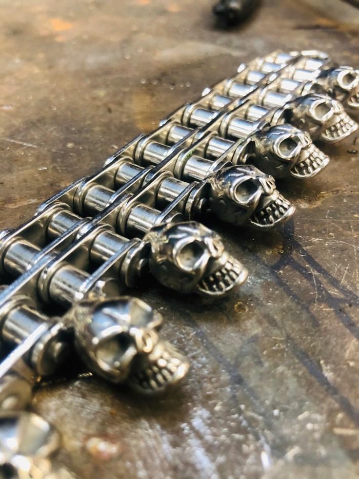 Bracelet double chaine tête de mort acier inoxydable vitoartmetal