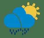 aguaceiros fracos, parcialmente nublado