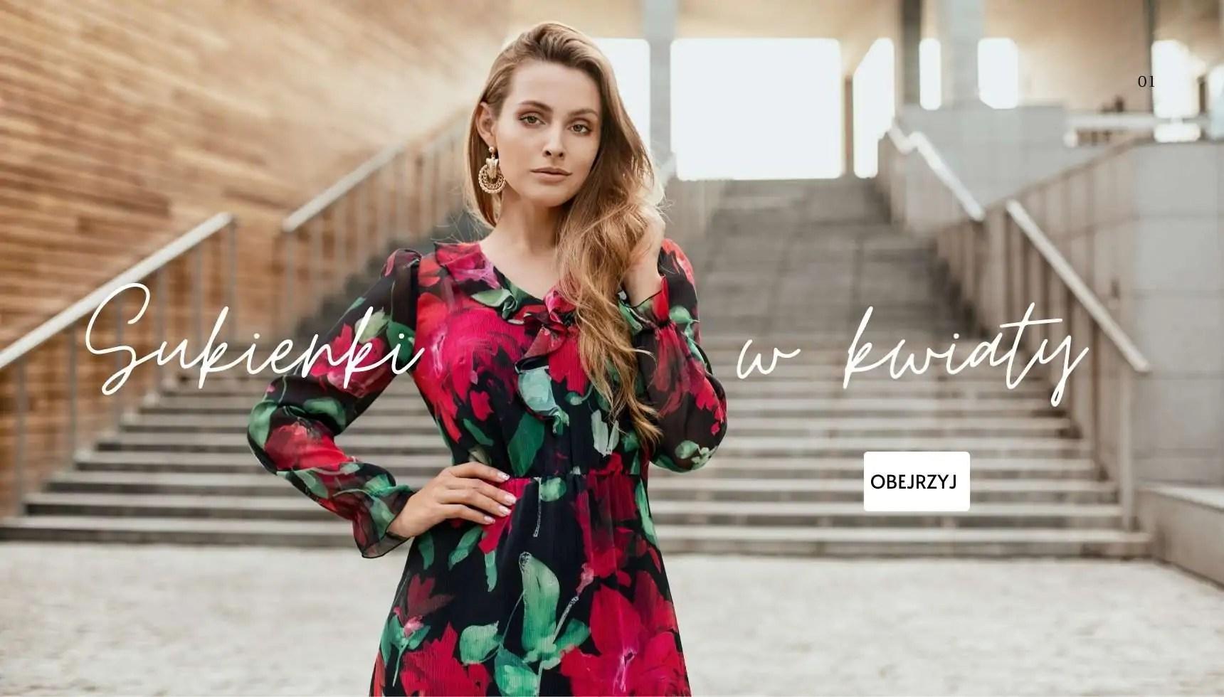 sukienki w kwiaty wiosna 2021 polska marka odzieży damskiej Vito Vergelis
