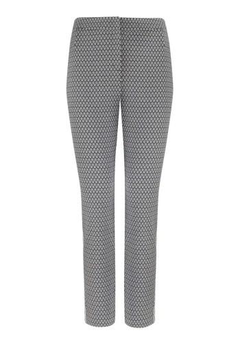 Linia biznes. Biało-czarne spodnie z lampasem i gumą polskiej marki Vito Vergelis