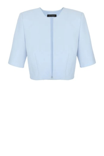 Błękitne bolerko do sukienek wizytowych. Krótki żakiet Vito Vergelis.
