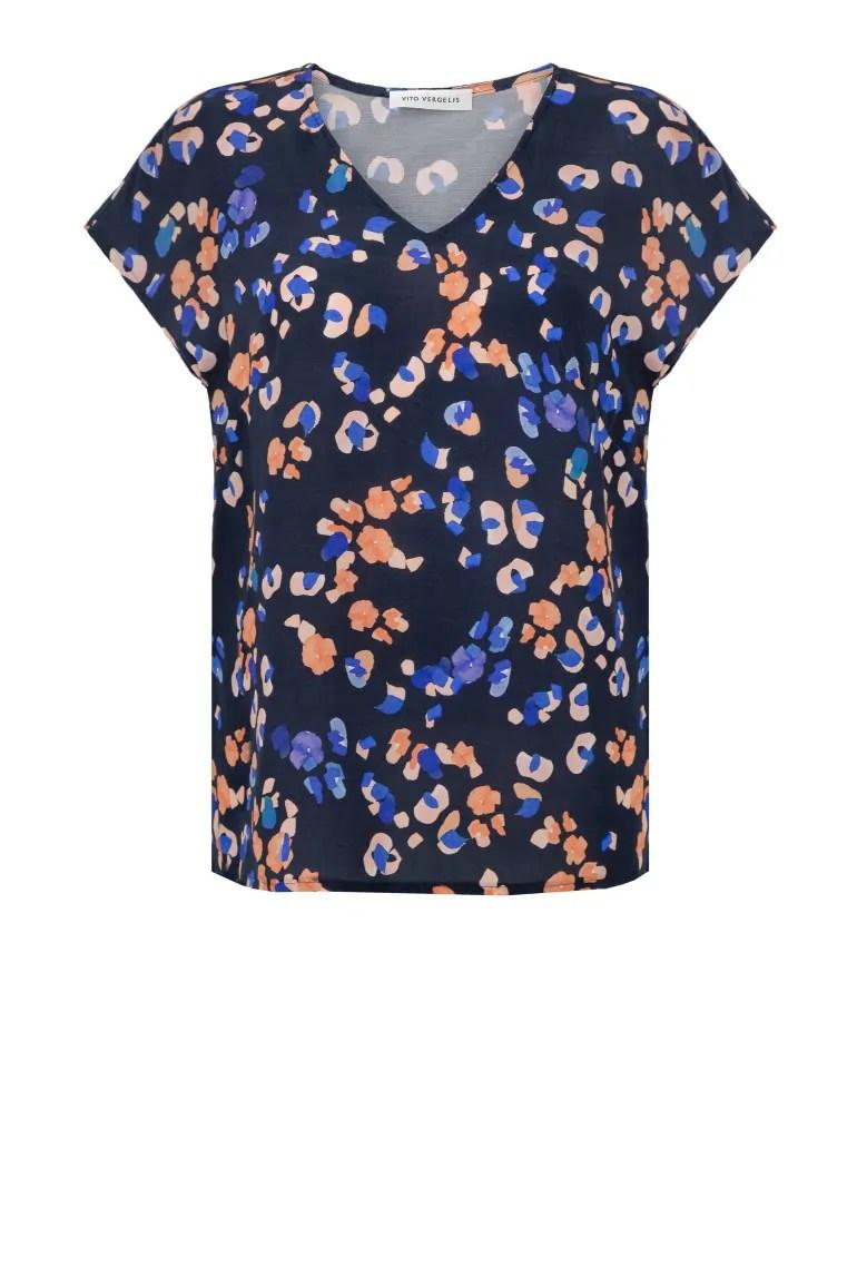niebieska bluzka z wiskozy z cupro w nadruk cętek
