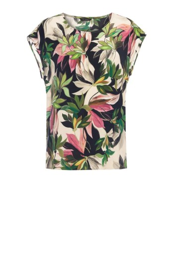 Bluzka w kwiaty z wiskozy cupro w nadruk liści i kwiatów marki Vito Vergelis