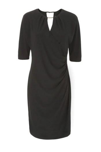 Czarna sukienka kopertowa. Sukienka wizytowa z dzianiny marki Vito Vergelis