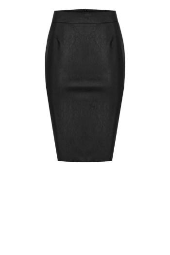 Czarna spódnica ze sztucznej skóry ołówkowa marki Vito Vergelis