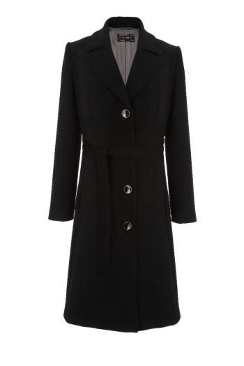 czarny płaszcz damski na guziki. Płaszcz jesienny Vito Vergelis