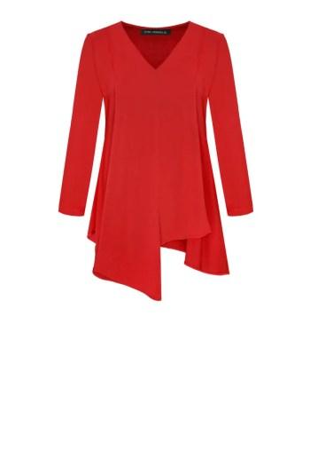 czerwona bluzka dzianinowa z kontrafałdą z przodu marki Vito Vergelis