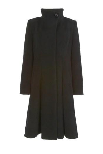 Czarny wełniany płaszcz za kolano, ze stójką. Płaszcz Vito Vergelis.