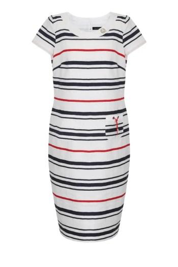 sukienka na lato z lnu w marynarskie paski marki Vitoo Vergelis