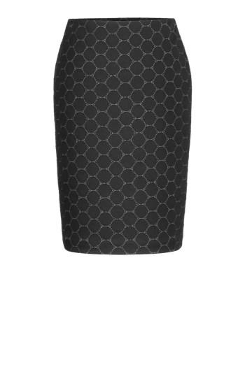 Linia biznes. Ołówkowa czarna dzianinowa spódnica Vito Vergelis z miękkiej dzianiny w kółka