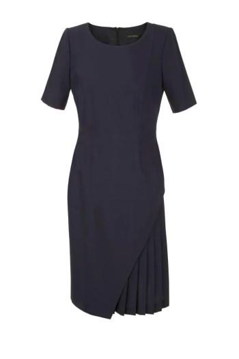 Granatowa sukienka do pracy z plisowaniem polska marka Vito Vergelis