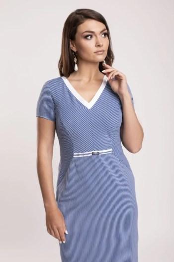Ołówkowa niebieska sukienka w biały prążek marki Vito Vergelis