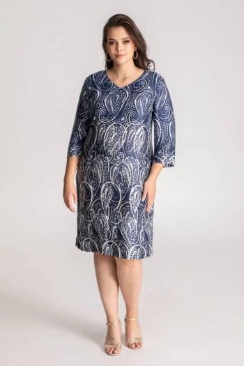 Niebieska sukienka w biały wzór paisley Vito Vergelis