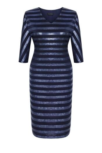 granatowa sukienka wizytowa z paskami z cekinów marki Vito Vergelis