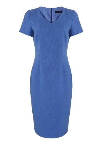 niebieska sukienka ołówkowa z krótkim rękawkiem marki Vito Vergelis