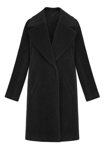 Czarny płaszcz z alpaki Vito Vergelis z dużymi klapami