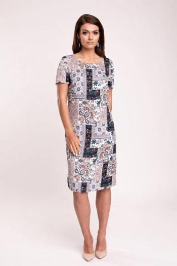 Letnia, klasyczna sukienka z wiskozy w nadruk mozaiki marki Vito Vergelis