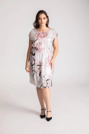 ściągana pastelowa sukienka Vito Vergelis w ptaszki