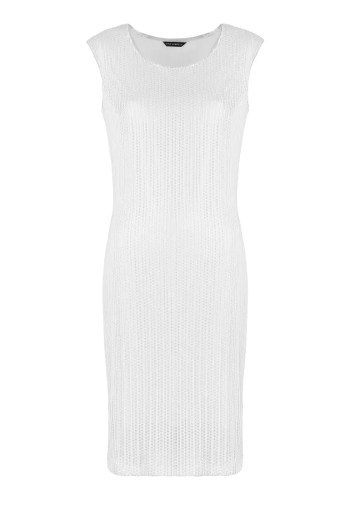 Biała sukienka z siateczki ze srebrnym połyskiem marki Vito Vergelis
