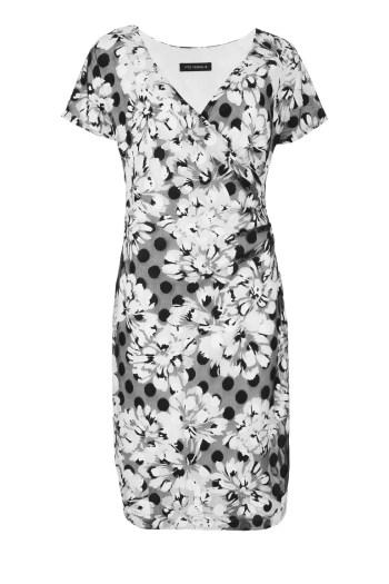 Koperowa sukienka w kwiatki i groszki marki Vito Vergelis