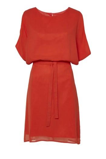 Pomarańczowa szyfonowa sukienka Vito Vergelis z paskiem