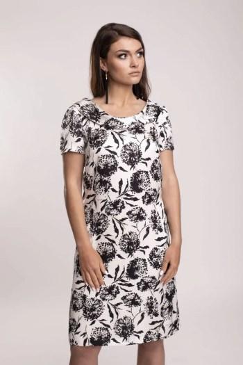 Biała sukienka w czarne kwiaty z błyszczącej wiskozy. Sukienka marki Vito Vergelis