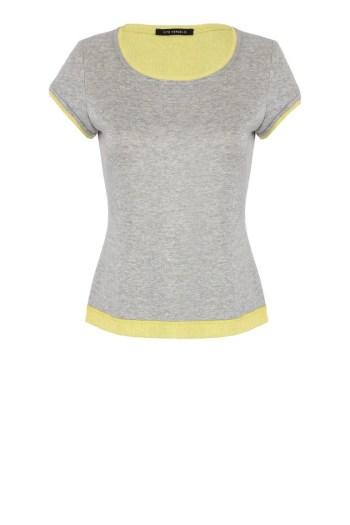 Vito Vergelis szara bluzka z żółtą wstawką