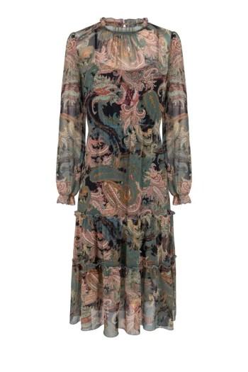 Wzorzysta sukienka midi - wizytowa sukienka z szyfonu w nadruk polskiej marki Vito Vergelis
