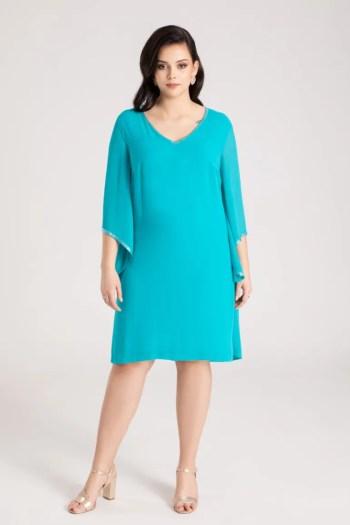 Kolekcja wizytowa. Zielona sukienka plus size z szyfonu na duże rozmiary marki Vito Vergelis