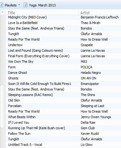 March 2013 Playlist as of 3-10